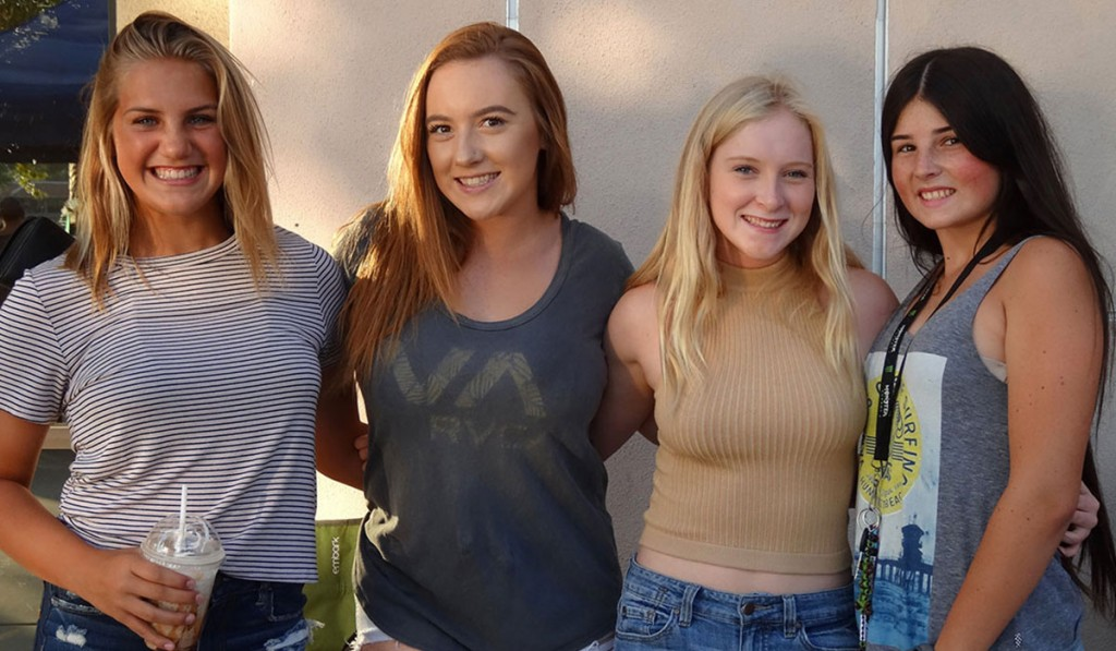From left, Lauren Sellers, 15, will be starting her sophomore year at Temescal Canyon High School. She says she is most excited about the school dances. Sara Scott, 17, will also be at TCHS as a senior and says she is excited about senior activities and graduation before heading off to college. Hanna Scott, 14, another new TCHS sophomore, says she is most looking forward to the dances. Cori Wright, 18, will be a senior at Murrieta Mesa High School and says she is most excited about graduating and getting ready for beauty school.