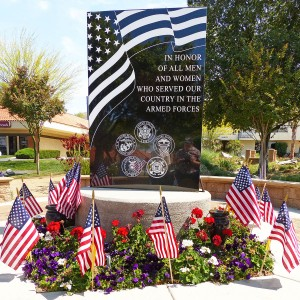 """The Veterans Memorial, located in the heart of the Towne Center, is where residents are invited to gather """"to remember"""" at 3 p.m. Monday, May 30. Photo by Bert Barbay"""