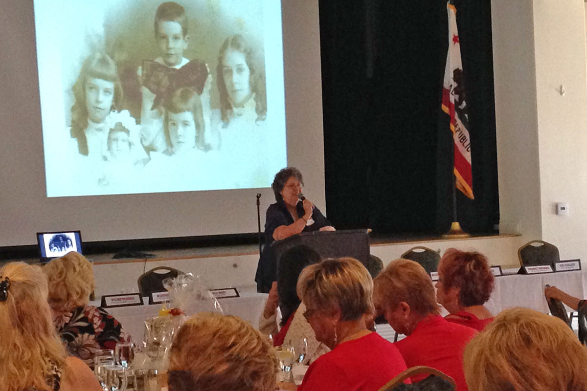 """Lyne Hall says there was a """"great turnout"""" for the Woman's Club's first meeting of the new fiscal year. The speaker was Barbara Waite, author and historian, who talked about the history of the Elsinore Valley. Lyne notes the meal provided at the meeting was """"absolutely wonderful."""" She adds, """"The difference (in the meal) both in quality and quantity compared to last year is night and day!"""". Photo by Lyne Hall."""