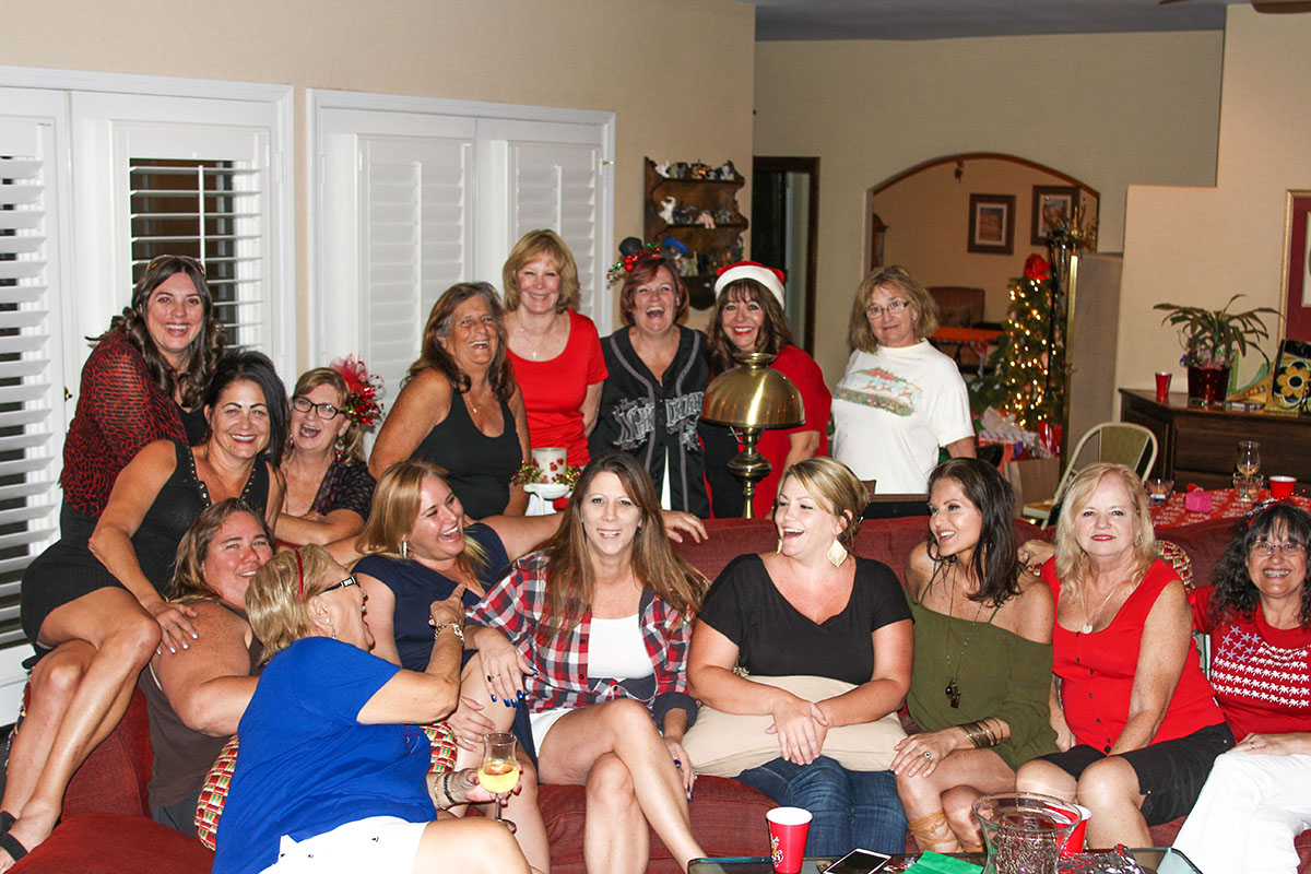 "The Canyon Lake Dice Divas Bunco group got together at the home of Karen Doherty for their ""Christmas in August"" Bunco night. Photo by Donna Ritchie."