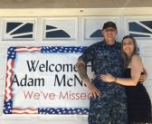 Family and friends welcome home sailor Adam McNaughton