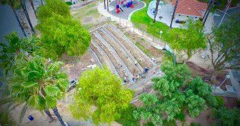 Crews work to turn park hillside into amphitheater